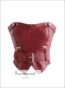 Women Red Sweetheart Neckline Fox Leather Bandeau Corset with Waist Belt Crop top Zip detail chick sexy style, street style SUN-IMPERIAL