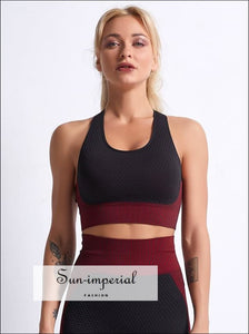 Women Ribbed Black and Blue Colorblock Cropped Sports Bra Cross back Yoga top ACTIVE WEAR, active wear women, activewear, get active, sports