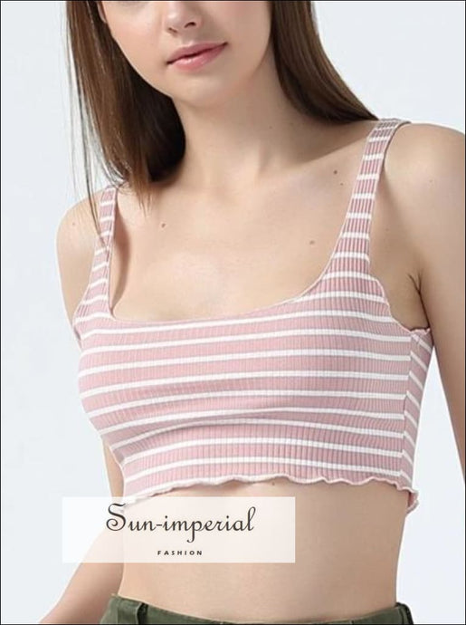 Women Ribbed Crop Tank Top Striped Tanks 9 Colors BASIC SUN-IMPERIAL United States