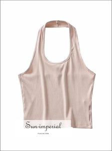 Women Ribbed Crop Top With Halter SUN-IMPERIAL United States