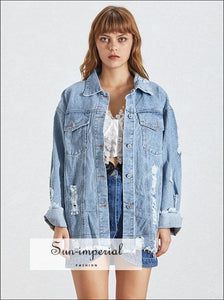 Women Ripped Denim Jacket Lapel Collar Long Sleeve Jeans Coat High Street Fashion street style, SUN-IMPERIAL United States
