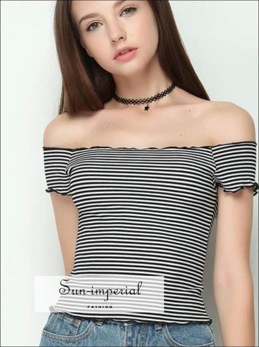 Women Ruffle Design Slash Neck Crop Tops Striped Knitted off Shoulder Short Sleeve BASIC SUN-IMPERIAL United States