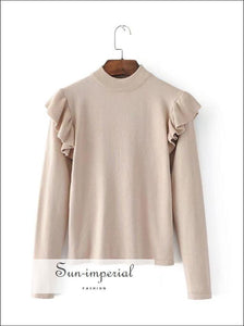 Women Ruffle Detail Knit Jumper Frill Trim Sweater SUN-IMPERIAL United States