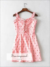 Women Ruffle Edged Camis Mini Dress Lace up front Strawberry Printd Mini Dress