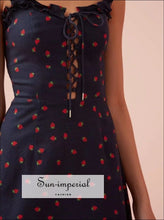 Women Ruffle Edged Camis Mini Dress Lace Up Front Strawberry Printd Mini Dress SUN-IMPERIAL United States