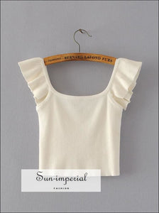 Women Ruffle Strap Knit Bustier Tops Knitted Crop Tank with BASIC SUN-IMPERIAL United States