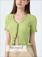 Women Ruffle Trim Crop Knit Cardigan with Short Sleeve Deep V Neck Tops SUN-IMPERIAL United States