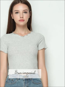 Women Ruffled Trimmings Ribbed Crop Tops Soft and Stretchy Short Sleeve T-shirts Basic Cropped top BASIC SUN-IMPERIAL United States