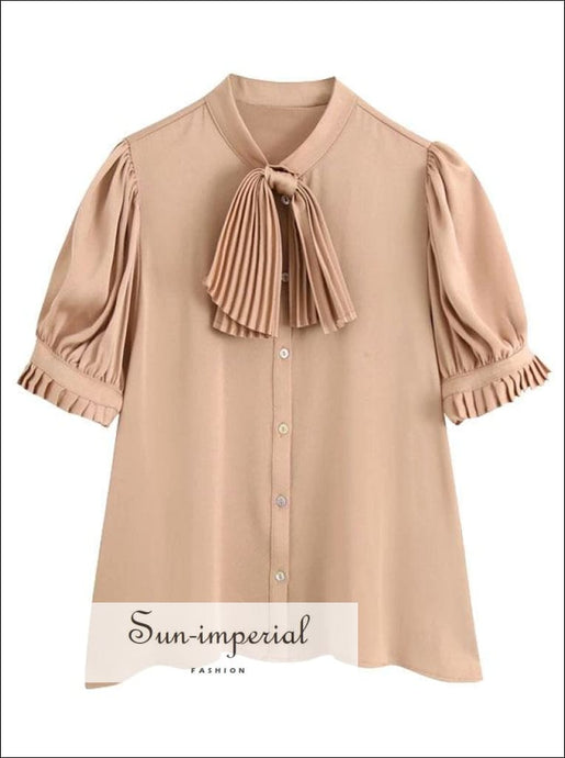 Women Rust Buttoned Satin Blouse with Ruched Short Puff Sleeve and Bow detail casual style, elegant office blouse, vintage workwear