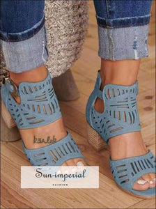 Women Sandals High Heel Gladiator Buckle Strap Woman Sandalias Summer Ladies Plus Size 35-43 SUN-IMPERIAL United States