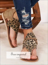 Women Sandals Summer Shoes Leopard Print Female Large Size Flats SUN-IMPERIAL United States