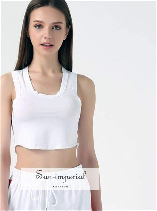 Women Scoop Neck Cotton Tank Tops Crop Tops
