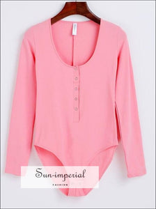 Women Scoop Neck Super Soft Cotton Bodysuit Long Sleeve Button front Bodysuits