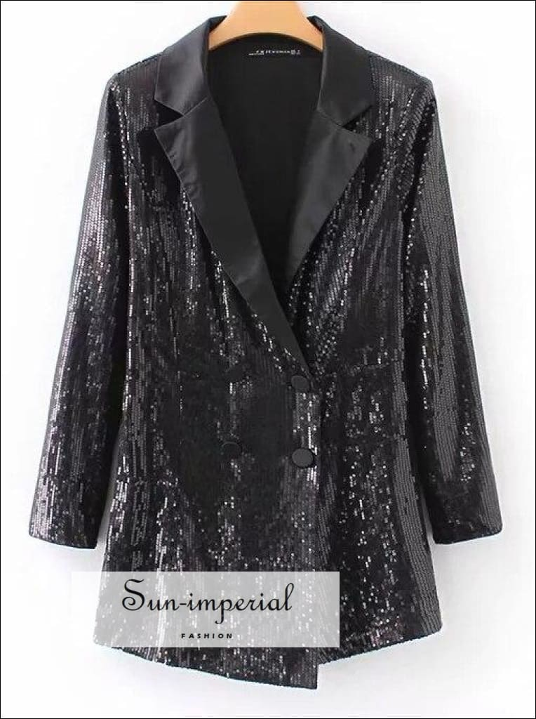 Women Sequin Black Long Sleeve v neck romper jumpsuit blazer front style SUN-IMPERIAL United States