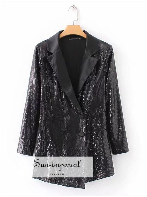 Women Sequin Black Long Sleeve V Neck Romper Jumpsuit Blazer front Style