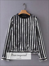 Women Sequin Blouse Long Sleeve Striped Shirt O-neck top SUN-IMPERIAL United States