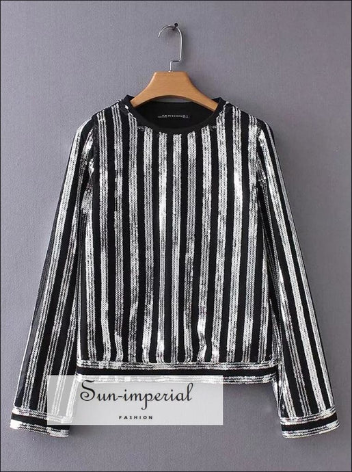 Women sequin Blouse Long Sleeve Striped Sequin women Shirt O-neck Top SUN-IMPERIAL United States