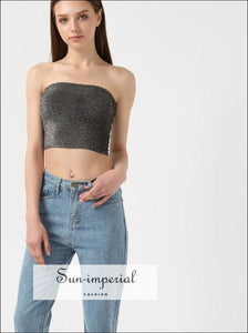 Women Sequin Tube Crop Tops BASIC, sequin top, tube top SUN-IMPERIAL United States