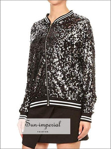 Women Sequined Casual Sports Jacket Coat Running Training plus Size Simple Long Sleeve Ladies SUN-IMPERIAL United States