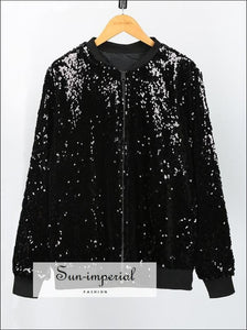Women Sequins Coat Bomber Jacket Long Sleeve Zipper Streetwear Loose Glitter coat, fall outfit, glitter, glittery, jacket SUN-IMPERIAL