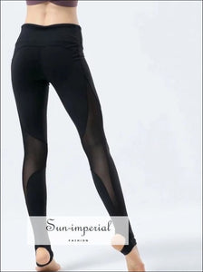 Women Sheer Mesh Panel Stirrup Leggings BASIC SUN-IMPERIAL United States