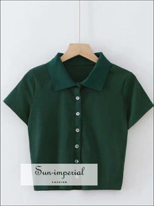 Women Green Short Sleeve Collared Button up Crop top Opaque Buttons T-shirt