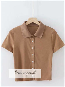 Women Brown Short Sleeve Collared Button up Crop top Opaque Buttons T-shirt