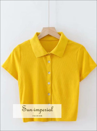 Women Yellow Short Sleeve Collared Button up Crop top Opaque Buttons T-shirt
