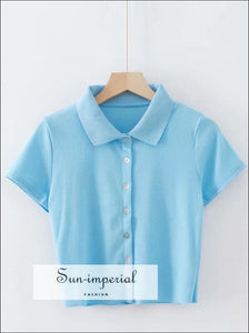 Women Light Blue Short Sleeve Collared Button up Crop top Opaque Buttons T-shirt