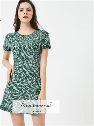 Women Short Sleeve Fit And Flare Mini Dress Ruffle Hem Floral Dress vintage SUN-IMPERIAL United States