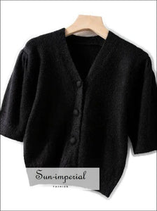 Women Short Sleeve Knitted Cardigan Single Breasted Sweater top SUN-IMPERIAL United States