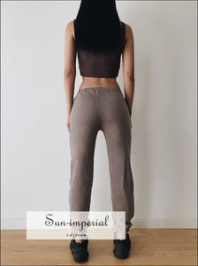 Women side Pockets Cuffed Skinny Jogger Vintage Sweat Pants ACTIVE WEAR, BASIC, Sporty, sweatpants SUN-IMPERIAL United States