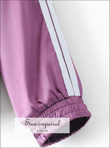Women Side Striped Satin Zip Through Tracksuit and Trainer Joggers Satin Sets ACTIVE WEAR BASIC Sporty SUN-IMPERIAL United States