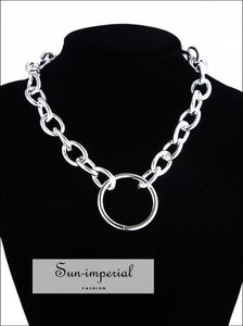 Women Silver and Gold Gothic Chunky Chain Choker Necklace SUN-IMPERIAL United States