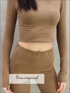 Women Slim Long Sleeve Fit Crop Tee SUN-IMPERIAL United States