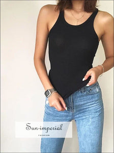 Women Slinky Straps Ribbed Tank Casual Tank top