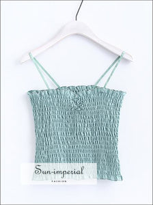 Women Smocked Cropped Tank with a Ruched Sweetheart Neckline Lovely Crop Cami top BASIC SUN-IMPERIAL United States