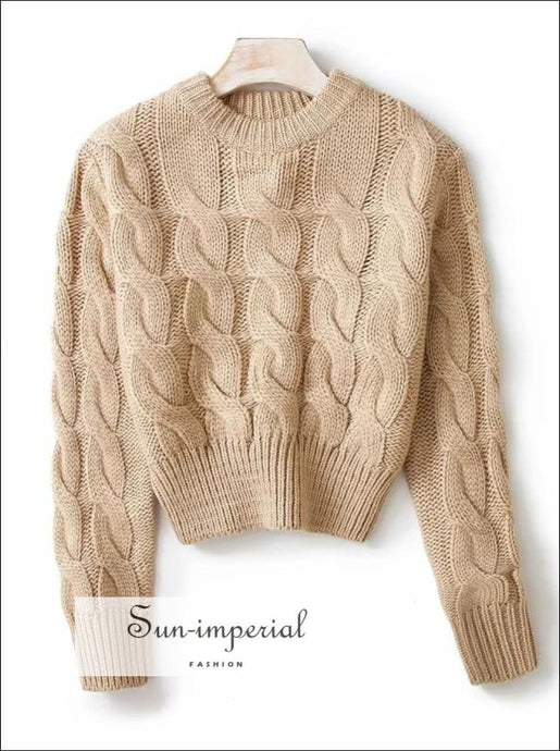 Women Solid Beige Chunky Knit Crop Jumper Crew Neck Cropped top Basic style, casual chick sexy chunky cropped women knit, harajuku style