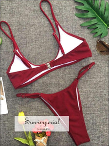 Women Solid Color Beach Swimwear Fashion Two-piece High Waist Bikini Set Push-up Bra Strap Backless