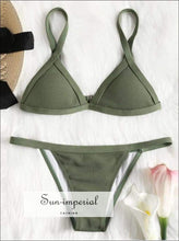 Women Solid Color Two-piece Beach Swimsuit Fashion High Waist Bikini Set Push-up Bra Thread Strap SUN-IMPERIAL United States