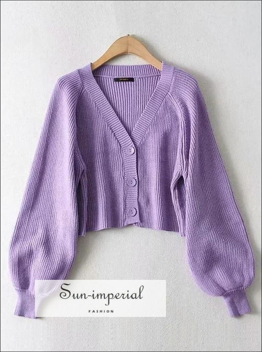 Women Solid Purple Buttoned Fluffy Boxy Cardigan with Puff Letran Sleeve basic style, casual, casual style SUN-IMPERIAL United States