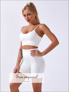 Women Solid White Ribbed Two-piece Cropped top and High Waist Shorts Leggings Pants Sports Yoga active wear, activewear, BASIC, Basic style,