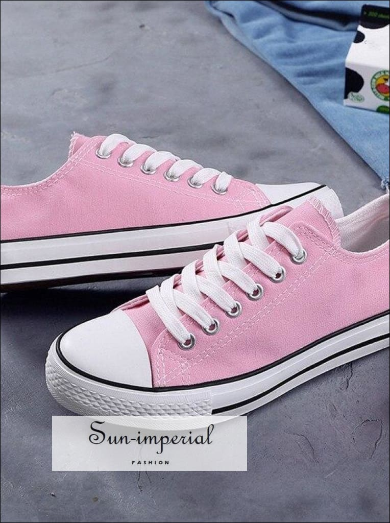 Women Solid Shoes Sneakers Lace-up Casual Shoes Breathable Walking Canvas Shoes SUN-IMPERIAL United States