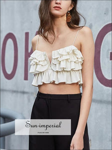 Women Square Collar thin Spaghetti Straps Layered Ruffles Crop Cami top with Small Center V Neck chick sexy style, Unique style SUN-IMPERIAL