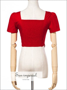 Women Square Neck Botton front Cotton top with Short Sleeve