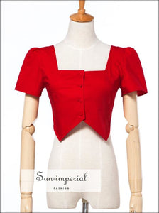 Women Square Neck Botton Front Cotton Top With Short Sleeve BASIC buttoned crop top Crop Top short sleeve top vintage SUN-IMPERIAL United