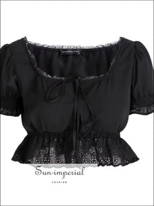 Women Square Neck Chiffon Crop top Spliced Lace Hem with Puff Sleeve Short Sleeve Blouse