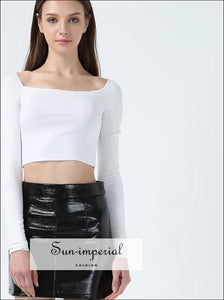 Women Square Neck Long Sleeve Crop Tops Ribbed T-shirt with Cropped Tee BASIC SUN-IMPERIAL United States