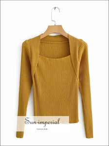 Women Square Neck Ribbed Jumper Casual Long Sleeve Rib Knit top Sweater