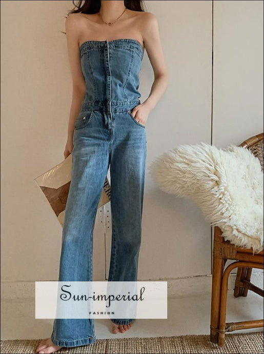 Women Strapless Tube Blue Denim Jeans High Waist Wide Leg Jumpsuit casual style, chick sexy harajuku maxi denim jumpsuit, PUNK STYLE